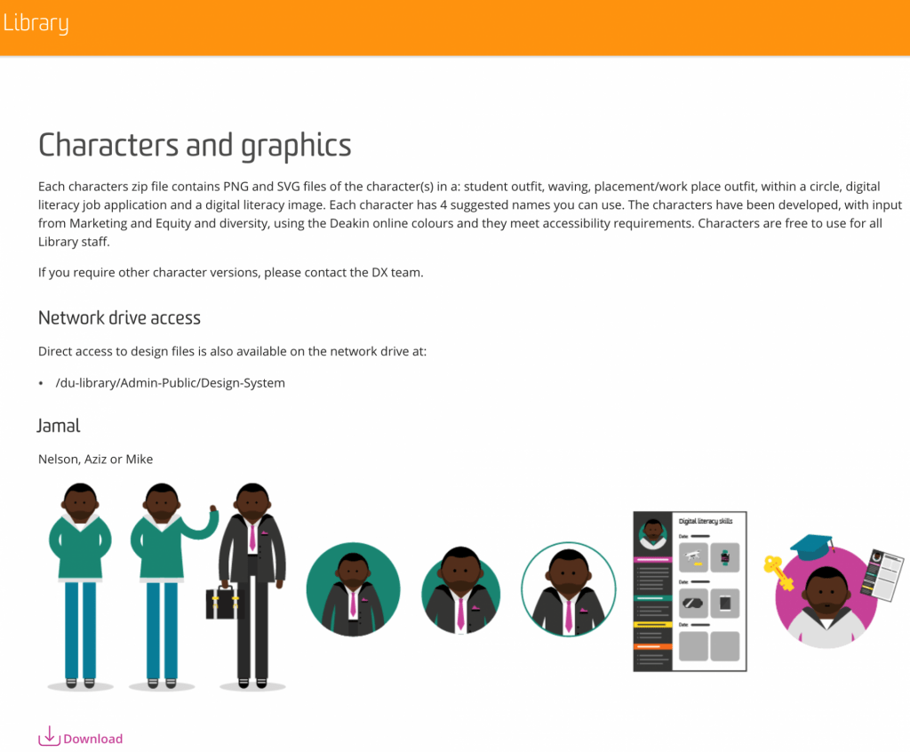 Deakin Library page showing example of characters and graphics that can be used. character posing in different postions, with both professional and student attire and with different versions of character.