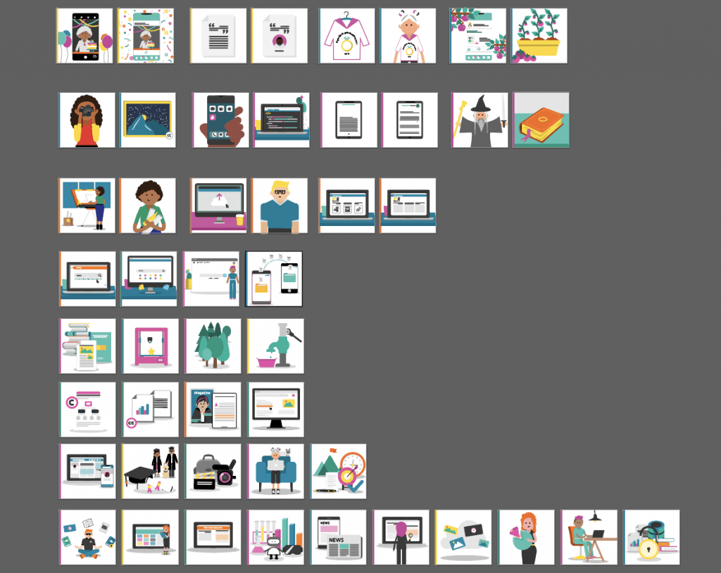 screenshot of various graphics available to be used from the learning design team.