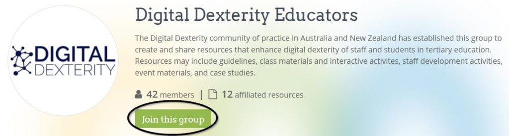Screenshot from https://www.oercommons.org/groups/digital-dexterity-educators/5554/ to indicate with an ellipse where to join the 'Digital Dexterity Educators' group on the website